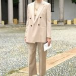 Olivia Palermo in a Beige Suit Attends the Boss Fashion Show During the Milan Women's Fashion Week in Milan