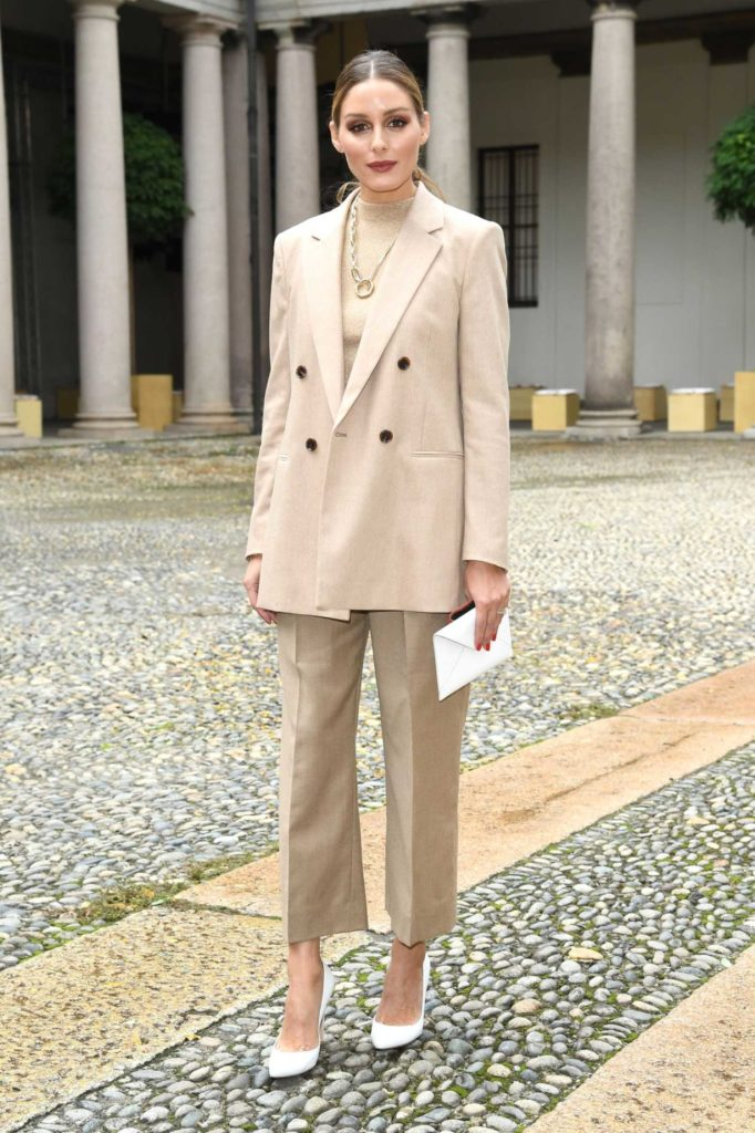 Olivia Palermo in a Beige Suit