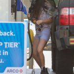 Scout Willis in a Gray Spandex Shorts Stops for Gas in Los Feliz