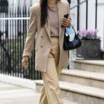 Shanina Shaik in a Beige Blazer Was Seen Out in London