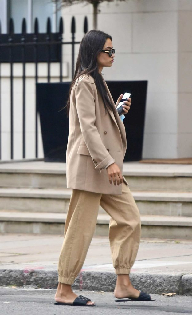 Shanina Shaik in a Beige Blazer