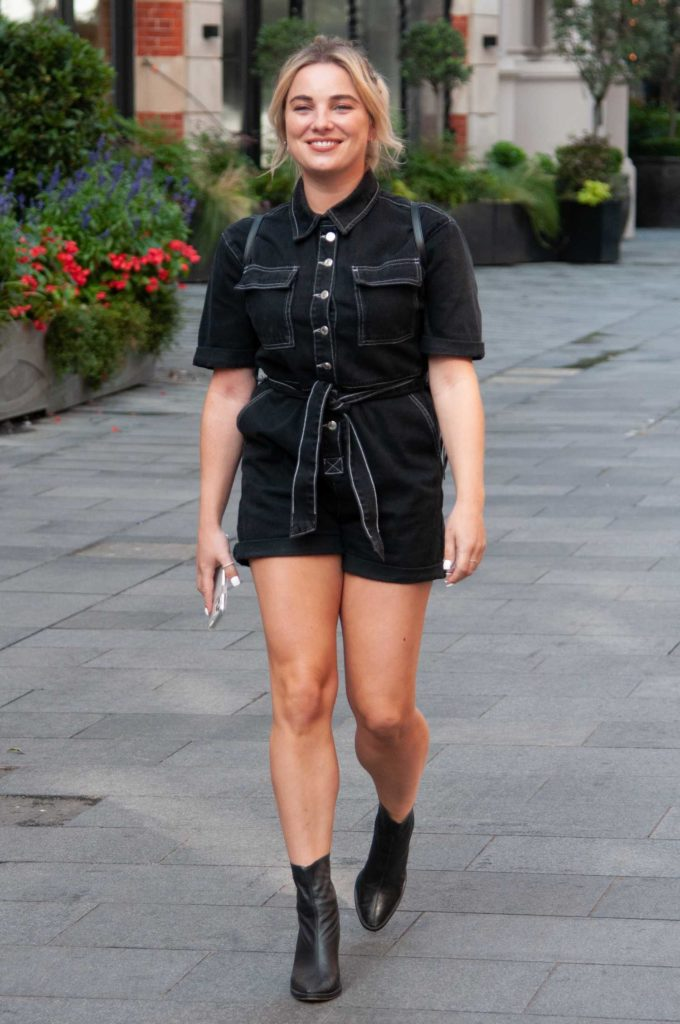 Sian Welby in a Black Shorts Jumpsuit