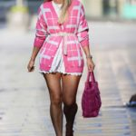 Vogue Williams in a Pink Cardigan Arrives at the Heart Radio Show in London