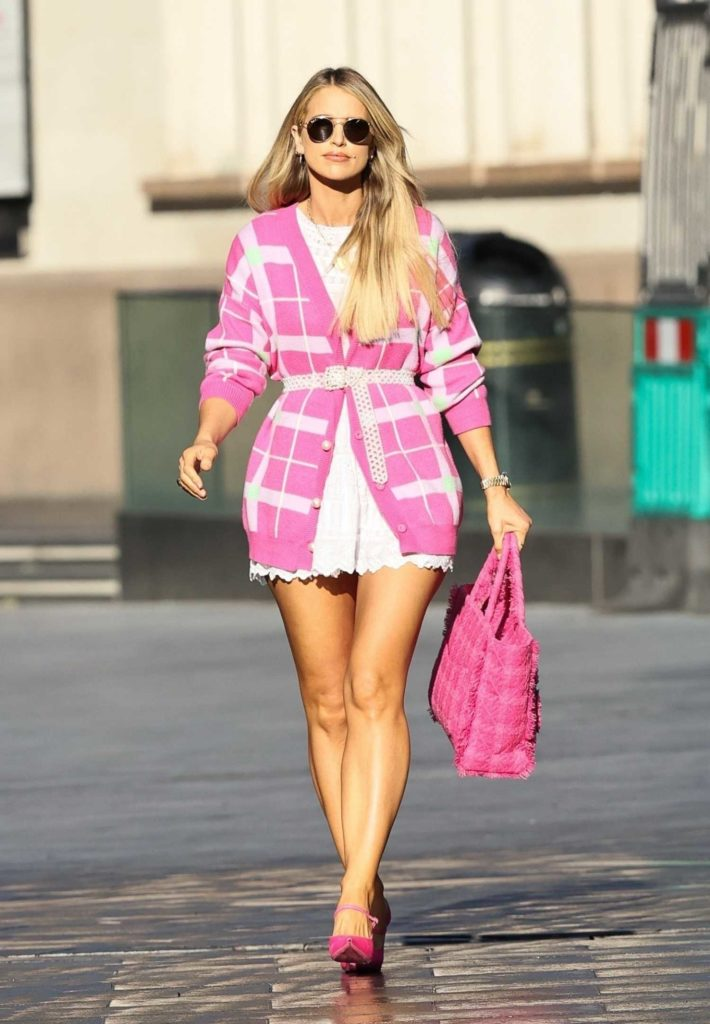 Vogue Williams in a Pink Cardigan