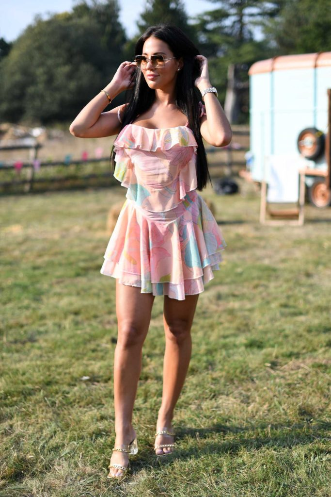 Yazmin Oukhellou in a Full Colour Mini Dress