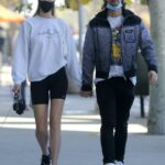 Abby Champion in a Black Protective Mask Was Seen Out with Patrick Schwarzenegger in Brentwood
