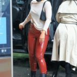 Addison Rae in a Red Leather Pants Arrives at the Greenwich Hotel in New York