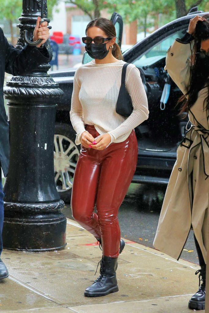 Addison Rae in a Red Leather Pants