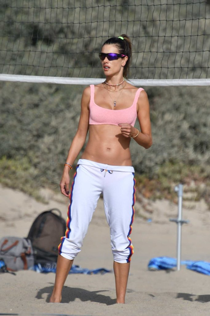 Alessandra Ambrosio in a Pink Bikini Top