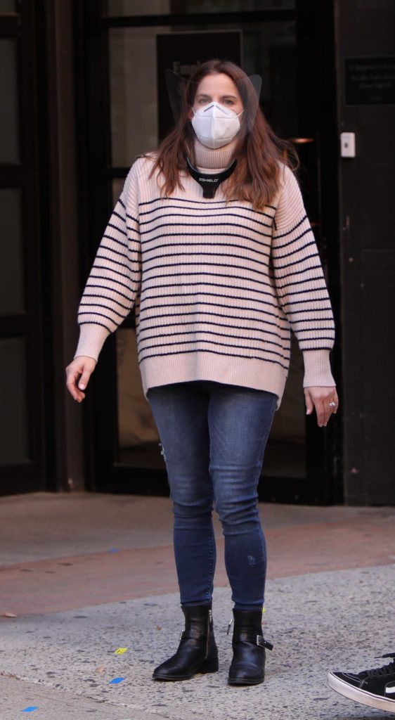 Anna Chlumsky in a Striped Sweater