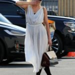 Anne Heche in a White Dress Arrives at the DWTS Studio in Los Angeles