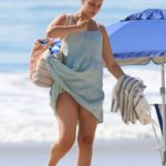 April Love Geary in a Blue Mini Dress Was Seen on the Beach in Malibu