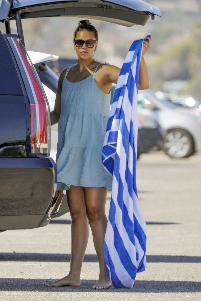 April Love Geary in a Blue Mini Dress