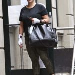 Ashley Graham in a Black Tee Leaves the Gym in New York