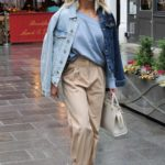 Ashley Roberts in a Beige Pants Leaves the Global Studios in London