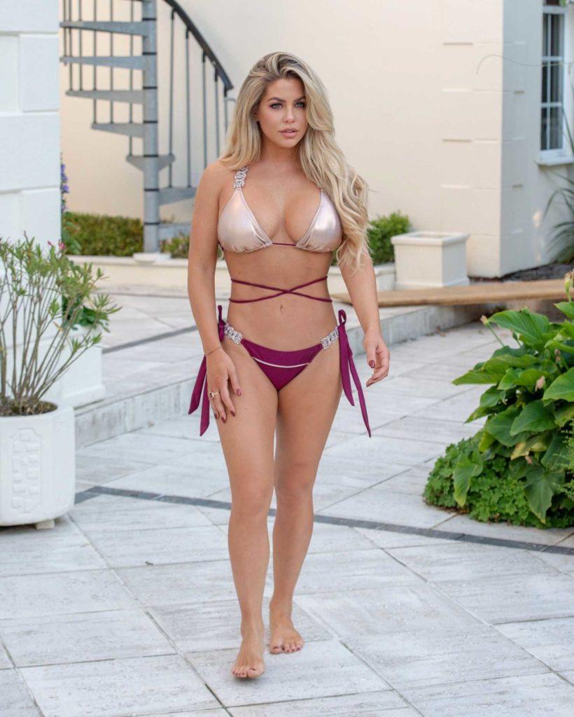 Bianca Gascoigne in a Gold and Purple Bikini