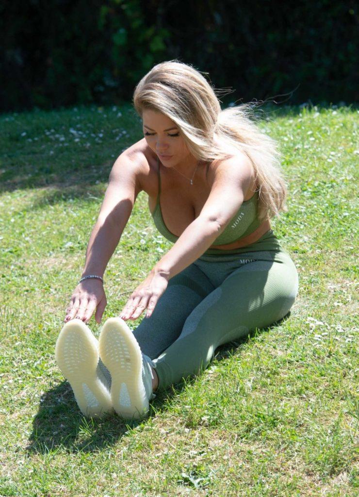 Bianca Gascoigne in a Green Workout Ensemble