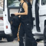 Cara Santana in a Black Tank Top Arrives to a Friend's House in Los Angeles