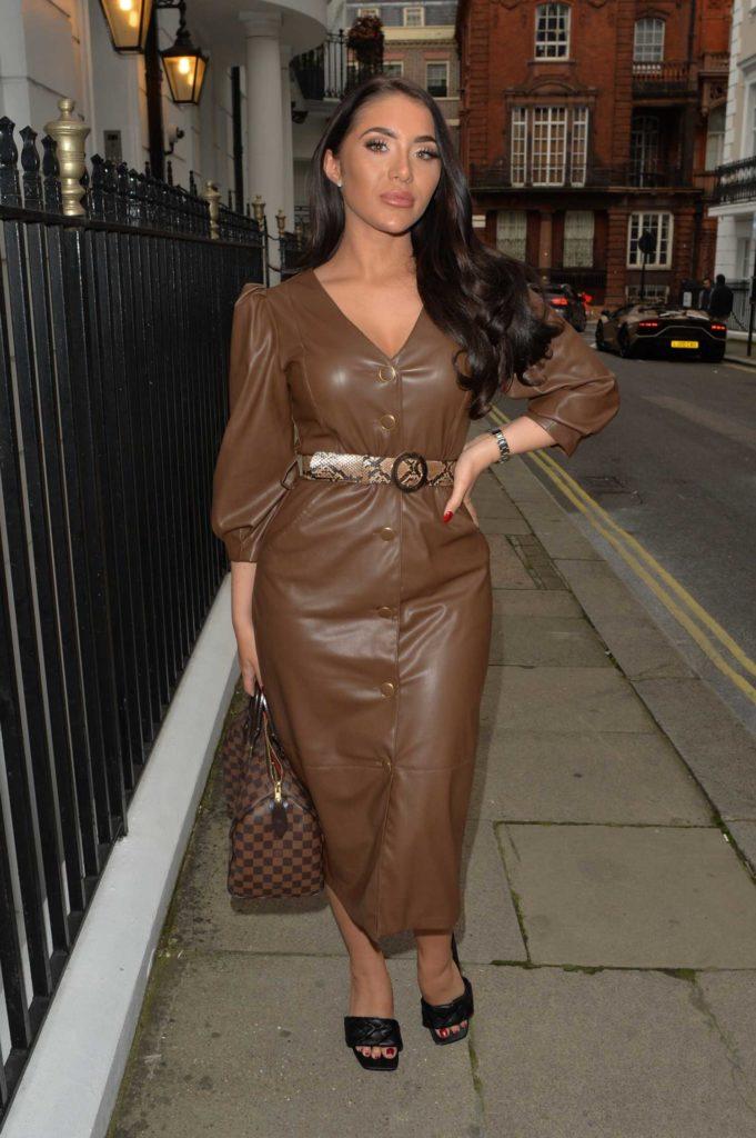 Chloe Brockett in a Brown Dress