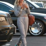 Daniella Karagach in a Grey Sweatsuit Heads to the DWTS Studio in Los Angeles