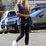 Daniella Karagach in a White Sneakers Arrives at the DWTS Studio in Los Angeles