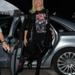 Denise Van Outen in a Black Cardigan Arrives at the Proud Embankment Cabaret Club in London
