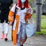 Dianne Buswell in a Grey Snakeskin Print Leggings Arrives at Strictly Come Dancing Rehearsals in London