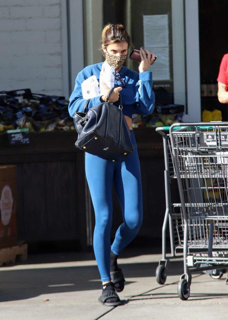 Elisabetta Canalis in a Blue Leggings