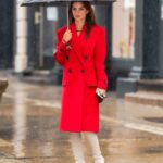 Emily Ratajkowski in a Red Coat Heads Out to Lunch on a Rainy Day in New York City