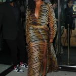 Gabrielle Union in an Animal Print Dress Grabs Dinner with Friends in West Hollywood