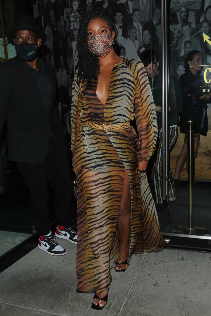 Gabrielle Union in an Animal Print Dress