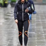 Jenni Falconer in a Black and Orange Leggings Leaves the Global Studios in London