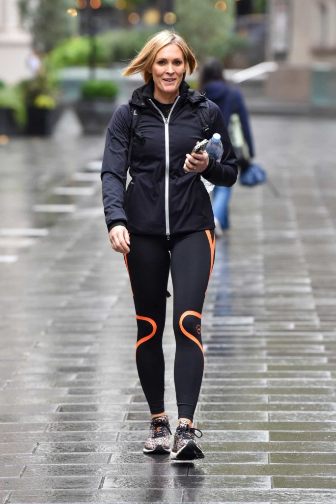 Jenni Falconer in a Black and Orange Leggings