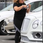 Justina Machado in a Black Tee Arrives at the DWTS Studio in Los Angeles