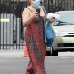 Justina Machado in a Blue Protective Mask Arrives at the DWTS Studio in Los Angeles