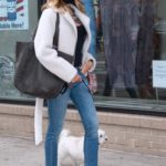 Kelly Bensimon in a Black Protective Mask Walks Her Dog in New York
