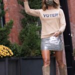 Kelly Bensimon in a Silver Mini Skirt Was Seen Out in Soho, New York