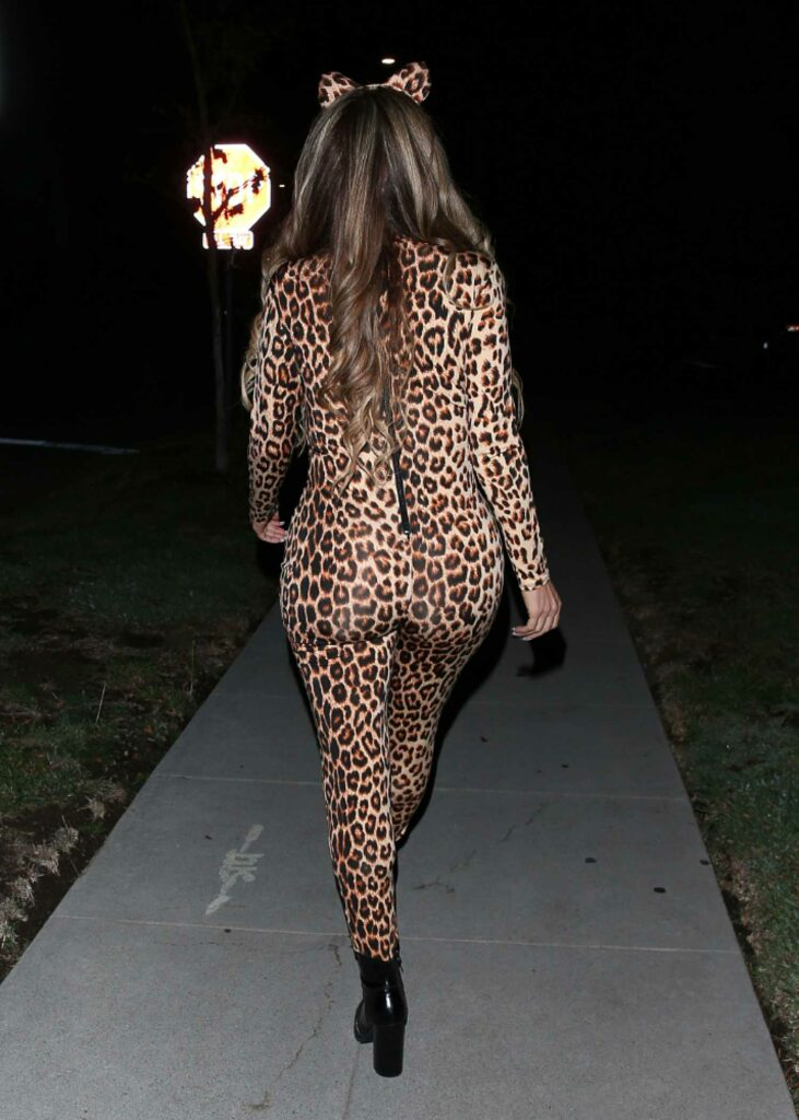 Larsa Pippen in a Tiger Print Halloween Costume