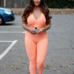 Lauren Goodger in an Orange Workout Ensemble Was Seen Out in Essex