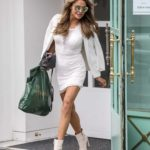 Lizzie Cundy in a White Blazer Goes Shopping at Harrods in London 10/06/2020