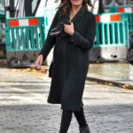 Lucy Horobin in a Black Coat Arrives at the Global Studios in London