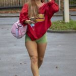Maisie Smith in a Red Sweatshirt Leaves Her Training Sessions in London