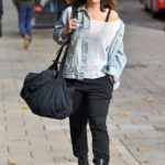 Myleene Klass in a Black Boots Arrives at the Smooth Radio in London
