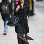 Myleene Klass in a Black Trench Coat Arrives at the Smooth Radio in London