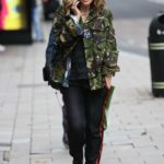 Myleene Klass in a Camo Jacket Arrives at the Smooth Radio in London