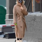 Naomi Watts in a Beige Coat Walks Her Dog in New York