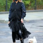 Olivia Palermo in a Protective Mask Walks Her Dog Mr. Butler in New York