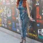 Phoebe Price in a Blue Snakeskin Patterned Jumpsuit Goes Shopping in Beverly Hills