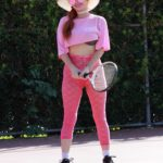 Phoebe Price in a Pink Leggings Was Seen on a Tennis Courts in Los Angeles