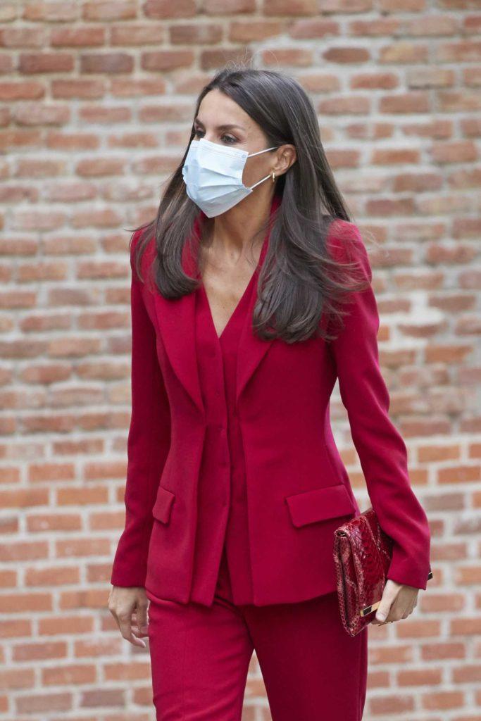Queen Letizia of Spain in a Red Suit